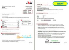 Austria EVN electricity utility bill template in Word format