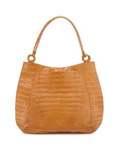 Crocodile Medium Soft Hobo Bag, Saddle Matte by Nancy Gonzalez at Bergdorf Goodman.