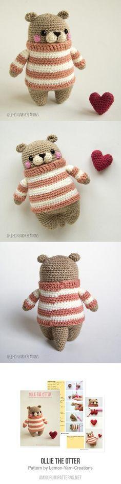 Ollie the Otter amigurumi pattern - Knitting patterns, knitting designs, knitting for beginners. Crochet Baby Toys, Diy Crochet, Crochet Dolls, Sewing Patterns Free, Free Pattern, Knitting Patterns, Crochet Patterns Amigurumi, Crochet Blanket Patterns, Crochet Scarf Diagram