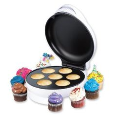 + Bake delicious cupcakes or muffins in only 5 minutes  + Easy to use and safe for even the youngest baker  + Recipe book included  + Compatible with any store bought cupcake mix  + Uses standard mini-cupcake paper wrappers