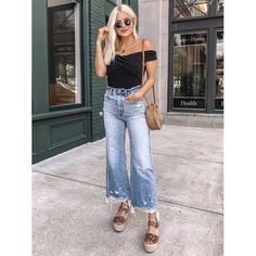 Women Jeans Outfit Linen Maxi Dress Plus Size Yoga Pants Cute Fall Outfits Brown Fur Coat Indie Clothing Jeans And Heels Outfit – yuccarlily Outfit Jeans, Cropped Jeans Outfit, Cropped Wide Leg Jeans, Fashion Jeans, Fashion Outfits, Crop Top Outfits, Jean Outfits, Yoga Plus Size, Cute Fall Outfits