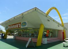 """The world's oldest operating McDonald's located in Downey, California. Distinct populuxe arches and tilted roof. The restaurant was built in 1953."""