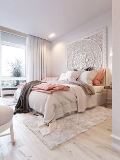 Pink & White on Behance | Very relaxing #bedrooms #interiordesign #interiordecorating