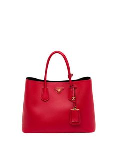 Saffiano Cuir Double Bag, Red (Fuoco) by Prada at Bergdorf Goodman. - $2870