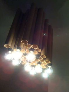 Reclaimed cardboard tube DIY chandelier