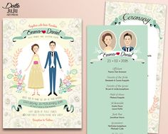 Spring Floral Wedding Invitations - Custom Illustrated Couple Portrait - DIY Printable Wedding Invite, RSVP, Program