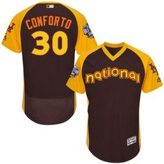 Michael Conforto Brown 2016 All-Star Jersey - Men's National League New York Mets #30 Flex Base Majestic MLB Collection Jersey