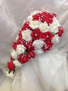 WEDDING BRIGHT RED AND IVORY FOAM ROSE/CRYSTAL BRIDES TEARDROP BOUQUET ebay $72.24 plus $24.37 ship = $96.60