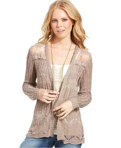 American Rag Pointelle-Knit Lace-Panel Cardigan - Juniors American Rag Sweaters - Macy's