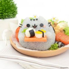 Pusheen the cat character bento. Creative food for lunch box. Cute food art and like OMG! get some yourself some pawtastic adorable cat shirts, cat socks, and other cat apparel by tapping the pin! Cute Food, Good Food, Yummy Food, Japanese Food Art, Japanese Candy, Cute Bento Boxes, Kawaii Cooking, Kawaii Bento, Sushi Art