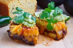 Jalapeno Cornbread Grilled Cheese with Chipotle Caramelized Onions, Refried Black Beans and Guacamole