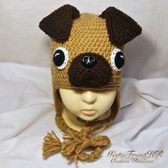 Crochet Pug Earflap Hat