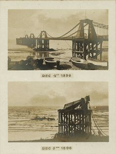The Royal Suspension Chain Pier, Brighton, before and after the storm in 1896 Brighton Sea, Brighton Rock, Brighton England, Brighton And Hove, Old Pictures, Old Photos, Vintage Photographs, Vintage Photos, Images Of England