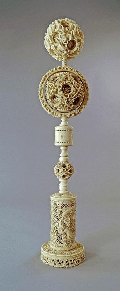 A large Chinese carved ivory triple puzzle ball on stand, Late Early Ancient Artefacts, Bone Carving, Ivoire, Antique Glass, Timeless Beauty, Beijing, Asian Art, Archaeology, Horns