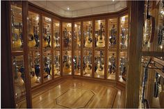 "guitar room copy, A few years ago, CNET ran a story posing the question, ""How can receivers sound bette, Guitar Display Case, Guitar Storage, Guitar Rack, Cool Guitar, Display Cases, Home Music Rooms, Music Studio Room, Sound Studio, Guitar Cabinet"