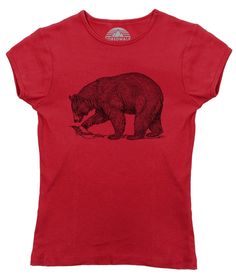 Women's Bear T-Shirt - Juniors Fit Vintage Illustration