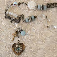 Vintage blue repurposed necklace by Andrea Singarella