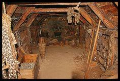 Inside old Icelandic turf house