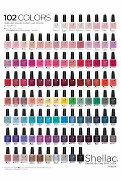 Ideas For Nails Shellac Cnd Salons Cnd Shellac Colour Chart, Shellac Nail Polish Colors, Shellac Nails, Nail Polishes, Gel Polish, Cnd Colours, Popular Nail Colors, New Nail Trends, Cnd Vinylux