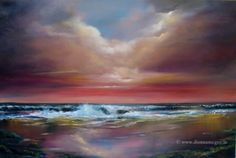 Spectacular Seascapes off the Coast of Ireland: The Wild Atlantic Way - Vast, rugged, untamed shores! This is where land and sea collide and the undulating waves beat a rhythm to the shore. Paintings For Sale, Places To Visit, Waves, Clouds, Sky, Fine Art, Artwork, Outdoor, Heaven