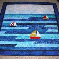Sailboat Jellyroll Baby Quilt |