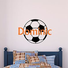 Personalized Name Soccer Wall Decal -- Continue to the product at the image link. (Amazon affiliate link)