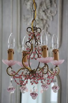 1940-1950 French chandelier / Pink opaline Murano Flower & drop 4 lights