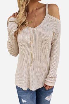 Beige Cold Shoulder Long Sleeve Knitted Shirt