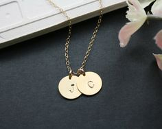 Initial necklace - duo disk gold necklace, gold filled chain, personalize, love, friendship, wedding jewelry gift, Mothers day gifts, on Etsy, $23.00