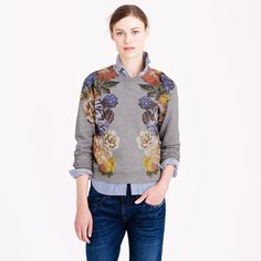 j.crew floral sweatshirt | crew Dutch Floral Cropped Sweatshirt in Gray (hthr athletic grey)