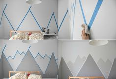 Stylized mountain drawing in color to decorate the walls of the room design . - Stylized mountain drawing in color to decorate the walls of the room Design montagne stylisé en co - Baby Bedroom, Baby Boy Rooms, Bedroom Wall, Kids Bedroom, Bedroom Decor, Nursery Room, Mountain Mural, Mountain Drawing, Mountain Nursery