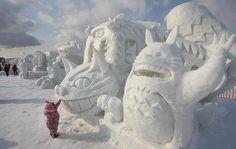 """Ghibli, """"Untitled"""", Sculpture, Sapporo Snow Festival, Odori Park, Sapporo-shi, Hokkaido Prefecture, Japan, 2012"""