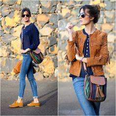Marianela Yanes - Primark Blouse, Zara Jacket, Zara Shoes - Fringe jacket jeans