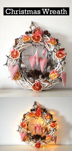 #christmas #wreath #pinecones #orange #grapefruits #gnome #decoration #decor Wreath & wooden gnomes - DUKA Orange, grapefruit, pinecones, branches - collected in the Summer Fabric hearts made