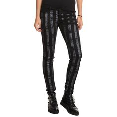 ChiQle Black American Flag Skinny Jeans | Hot Topic ($40) ❤ liked on Polyvore