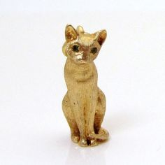 Vintage 14K Gold Solid 3D Jeweled Cat Charm w/Emerald Eyes 7.1 grams from charmalier on Ruby Lane