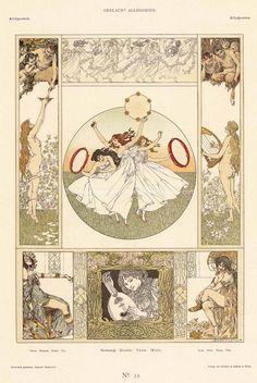 Gesang, Musik, Tanz und Wein/ Song, Music, Dance and Wine' by Heinrich Lefler for Gerlach's Allegorien