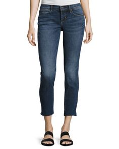 Mid-Rise+Skinny+Cropped+Jeans,+Blue+by+Nicole+Miller+at+Neiman+Marcus+Last+Call.