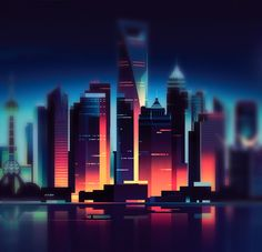 Graphic Digital Design Drawing High City with Water reflective Dark Blue and Orange Red (Romain Trystram | Design Spartan)