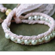 Pearl and lace bracelet tutorial. Lace Bracelet, Bracelet Crafts, Jewelry Crafts, Handmade Jewelry, Beaded Bracelets, Wrap Bracelets, Pearl Jewelry, Jewelery, Pearl Beads