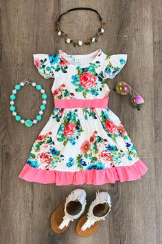 White Floral Dress with Coral Ruffles