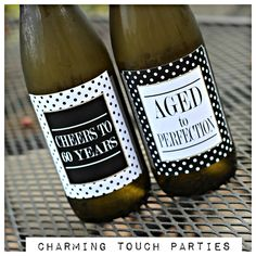 60th Birthday Party decor / wine labels.  Set of 4.  Black, white, gold glitter polkadot. Fully assembled and customizable. by CharmingTouchParties on Etsy