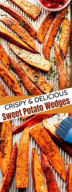 Crispy on the outside, steamy on the inside, and lavishly seasoned with garlicky spices, these Crispy Sweet Potato Wedges are an addictive and healthy side you'll make again and again! #sidedish #potatoes #sweetpotato Crispy Sweet Potato Wedges, Seasoned Potato Wedges, Potato Wedges Baked, Side Dish Recipes, Veggie Recipes, Cooking Recipes, Easy Recipes, Healthy Recipes, Wedges Recipe