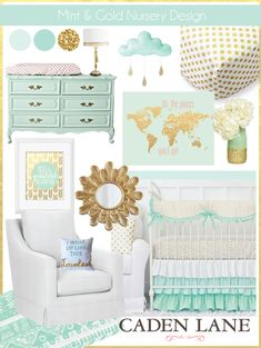 Mint and Gold Nursery Design Ideas featuring the gorgeous mint and gold dot crib bedding from Caden Lane.