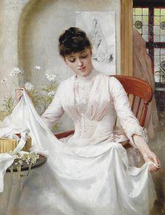 889 Thomas Benjamin Kennington (English genre, social realist and portrait painter, 1856-1916) ~The Wedding Dress