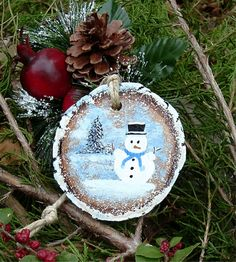 Personalized Ornament Wood Ornament Snowman by ArtIllusions