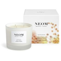 Neom Happiness Luxury Candle (230 BRL) ❤ liked on Polyvore featuring home, home decor, candles & candleholders, grey, mimosa candle, grey home decor, neom organics, grey candles and garden candles