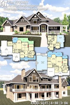 Exciting Traditional House Plan with Optional Sports Court Architectural Designs Home Plan gives you bedrooms, baths and sq. Architectural Designs Home Plan gives you bedrooms, baths and sq. Family House Plans, New House Plans, Dream House Plans, House Floor Plans, My Dream Home, Floor Plans 2 Story, 6 Bedroom House Plans, Custom Floor Plans, Dream Houses