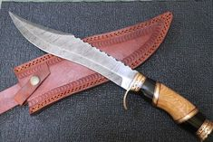 Custom handmade Damascus steel hunting knife with Buffalo olive wood handle #Damascus