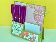 CraftyCarolineCreates: Desktop Notes Tidy - Video Tutorial with Petal Garden DSP by Stampin' Up 3d Paper Projects, 3d Paper Crafts, Craft Projects, Paper Crafting, Diy Crafts, Post It Note Holders, Fancy Fold Cards, Card Tutorials, Scrapbook Cards